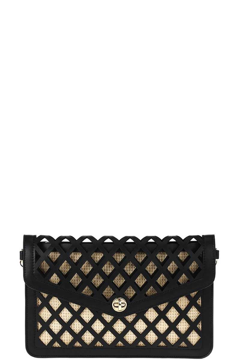 Stylish Diamond Cut Out Envelope Clutch With Shoulder Strap-SamiraBoutique