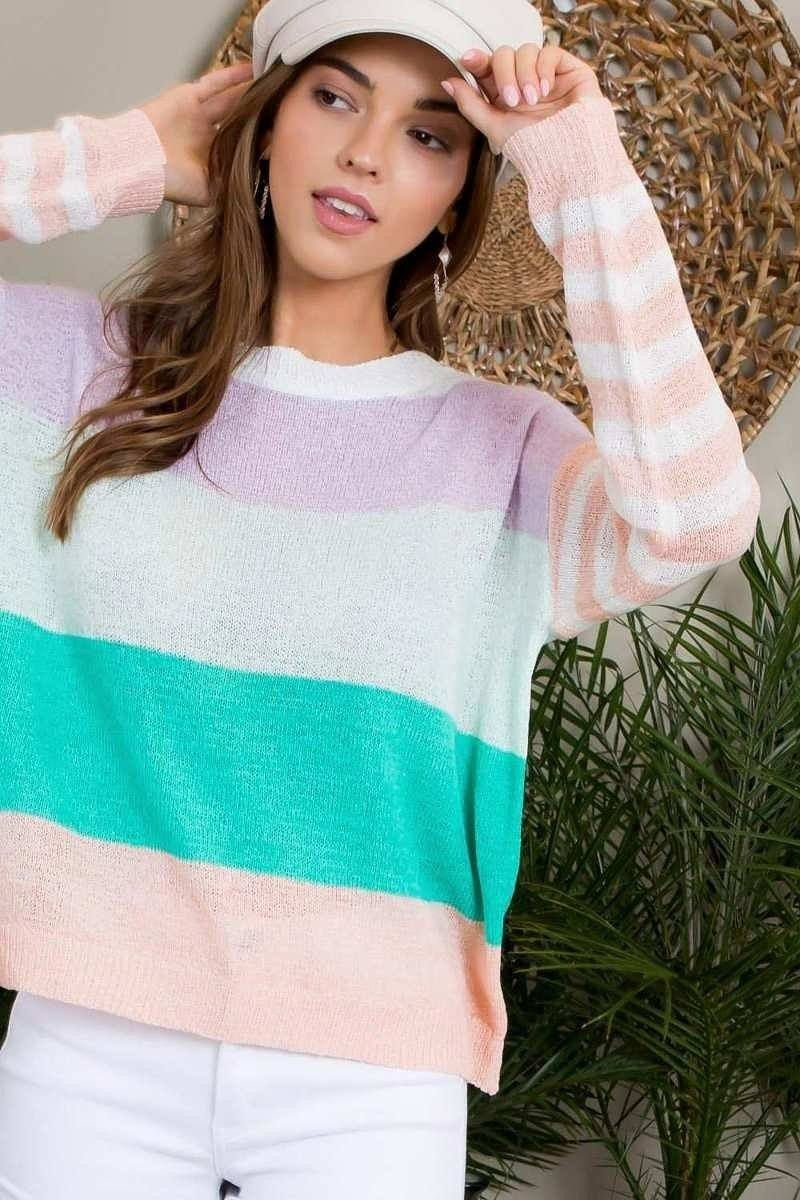 Round Neck Stripe Print Long Sleeve Color Block Sweater-clothing-SamiraBoutique