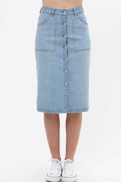 Denim Mid Thigh Length Skirt With Button Down Front Detail-clothing-SamiraBoutique