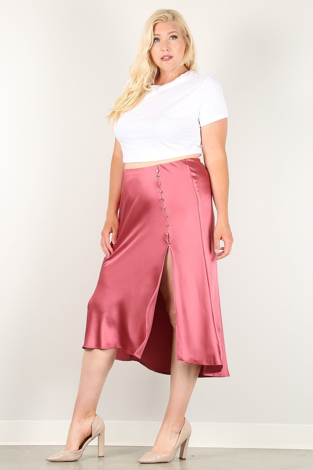 Solid High-waist Skirt With Button Trim And Side Slit-clothing-SamiraBoutique