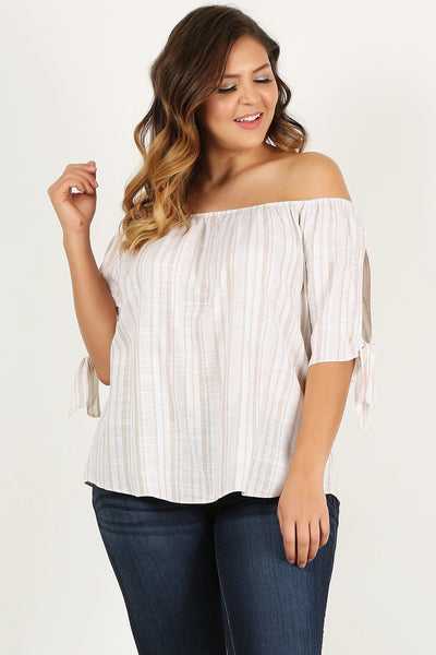 Plus Size Striped, Woven, Off-the-shoulder Top-clothing-SamiraBoutique