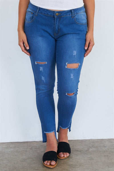 Plus Size Medium Blue Ripped Pants-SamiraBoutique