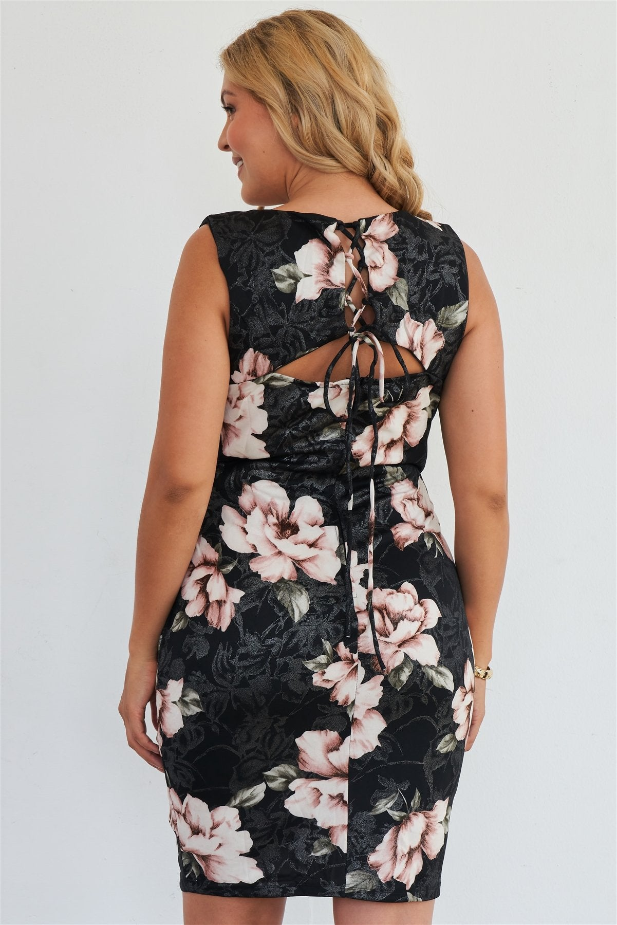 Plus Size Silver Pink Floral Print Bodycon Lace Up Back Midi Dress-SamiraBoutique
