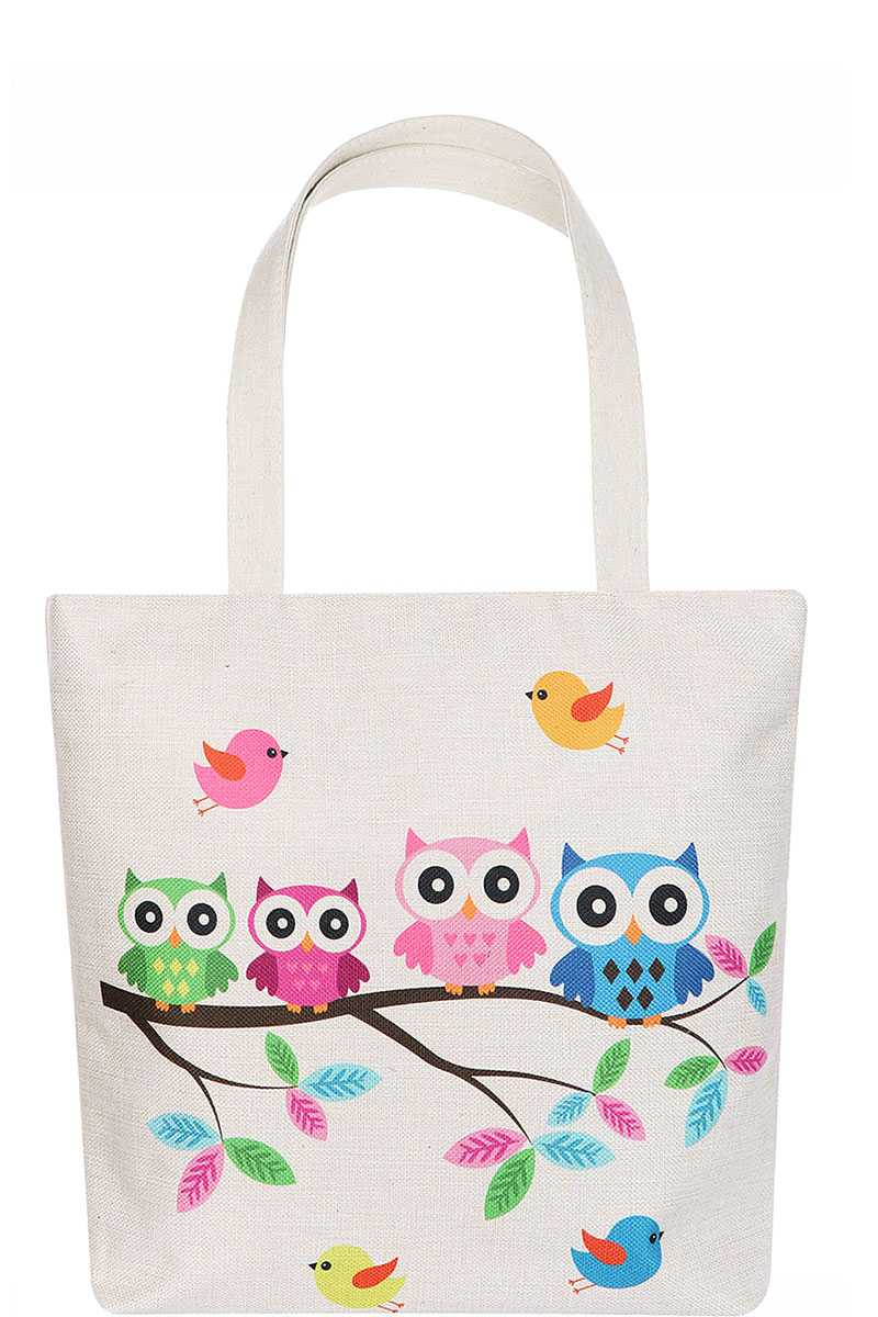 Cute Owl Family Cartoon Print Ecco Tote Bag-SamiraBoutique
