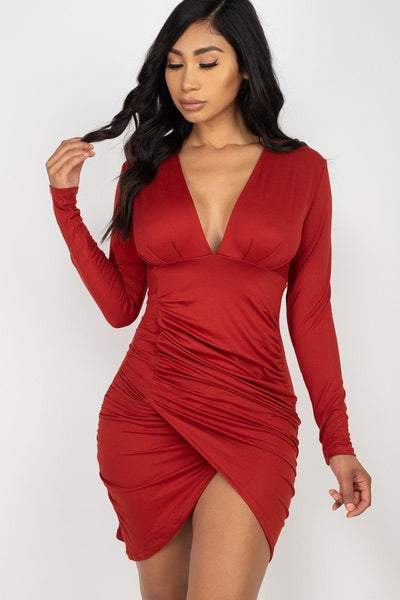Ruched Wrap Bodycon Dress-SamiraBoutique