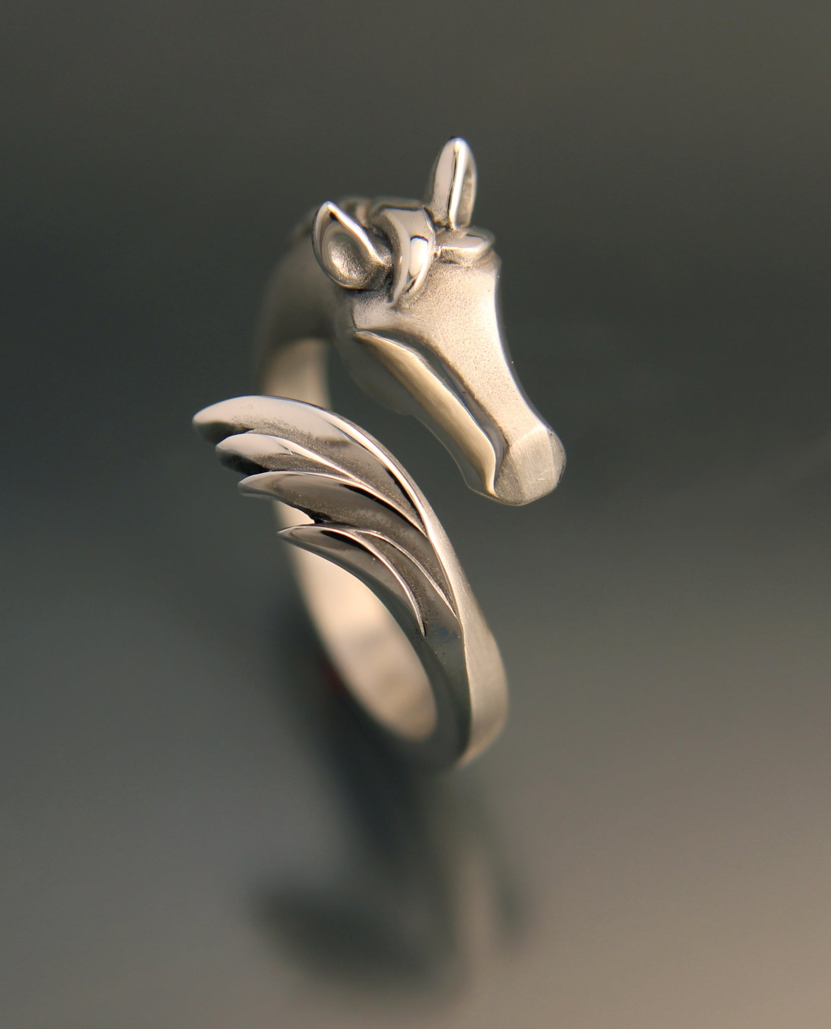 horse ring in sterling silver