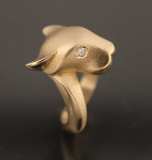 14k gold jaguaur ring diamonds