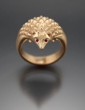 bronze or 14k gold hedgehog ring ruby