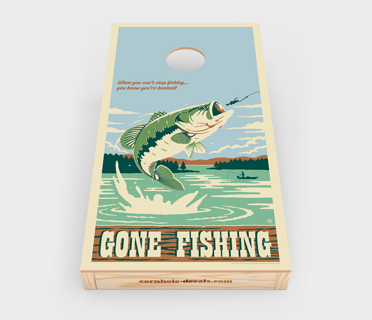 Gone Fishing Cornhole Decal