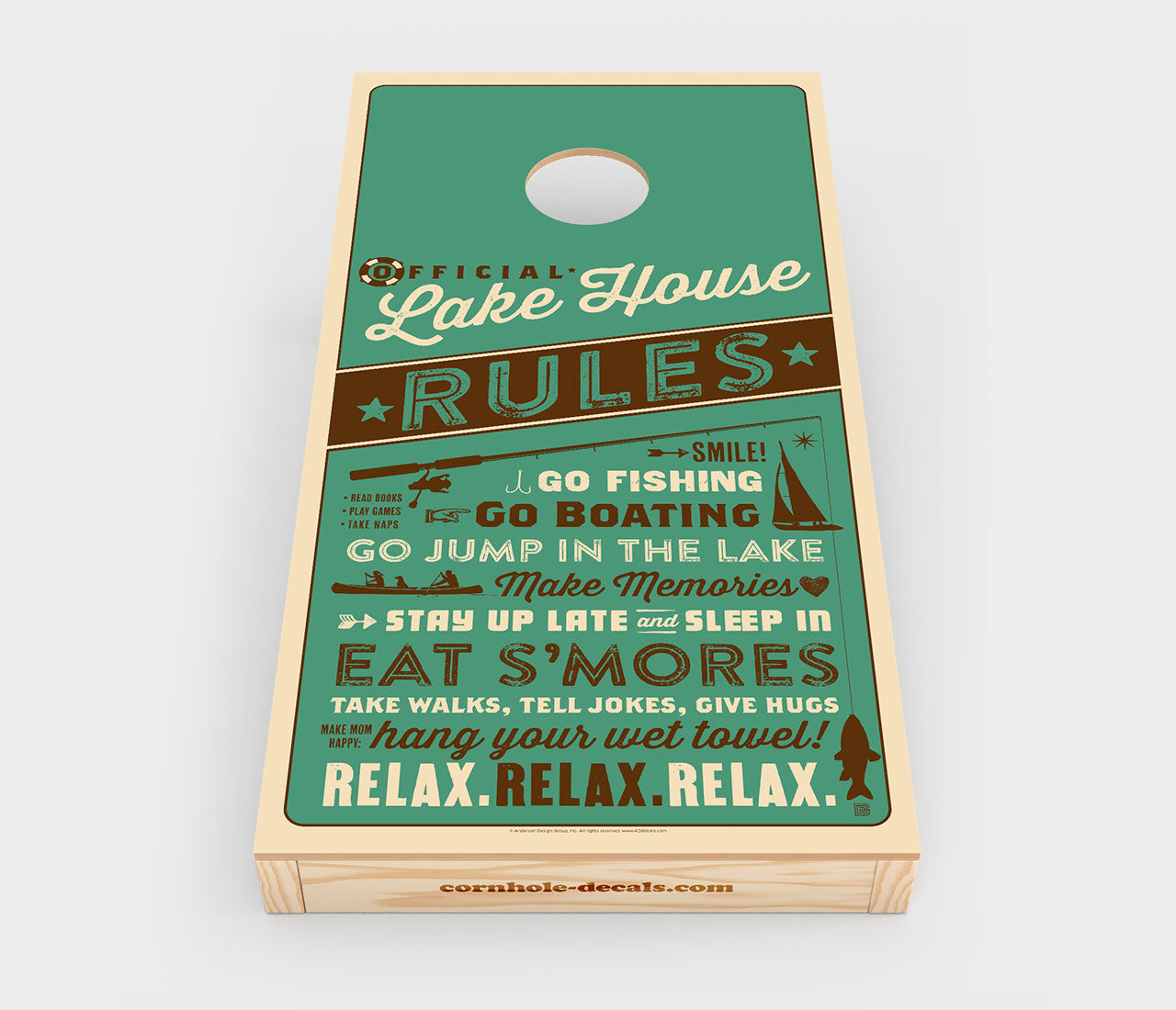Lake House Rules Cornhole Decal