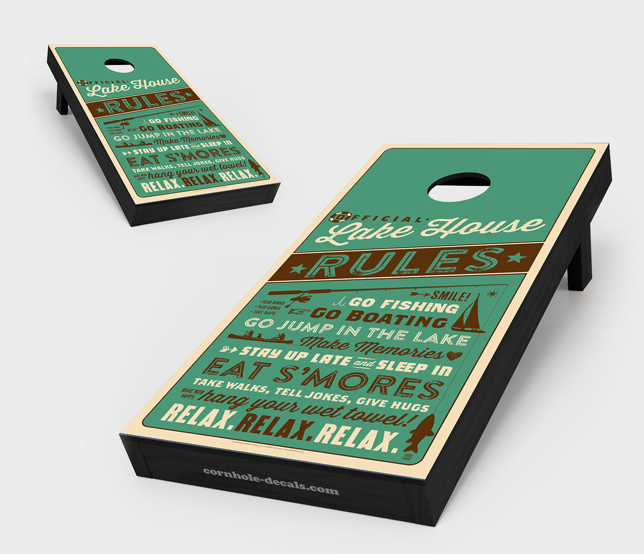Lake House Rules Cornhole Board Set