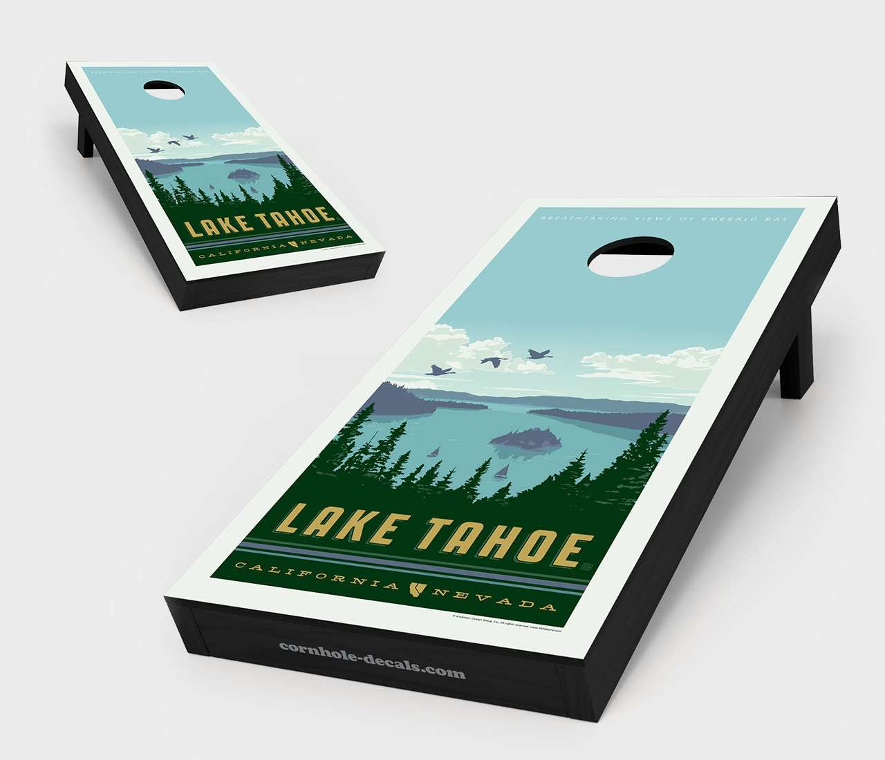 Lake Tahoe – Emerald Bay Cornhole Board Set