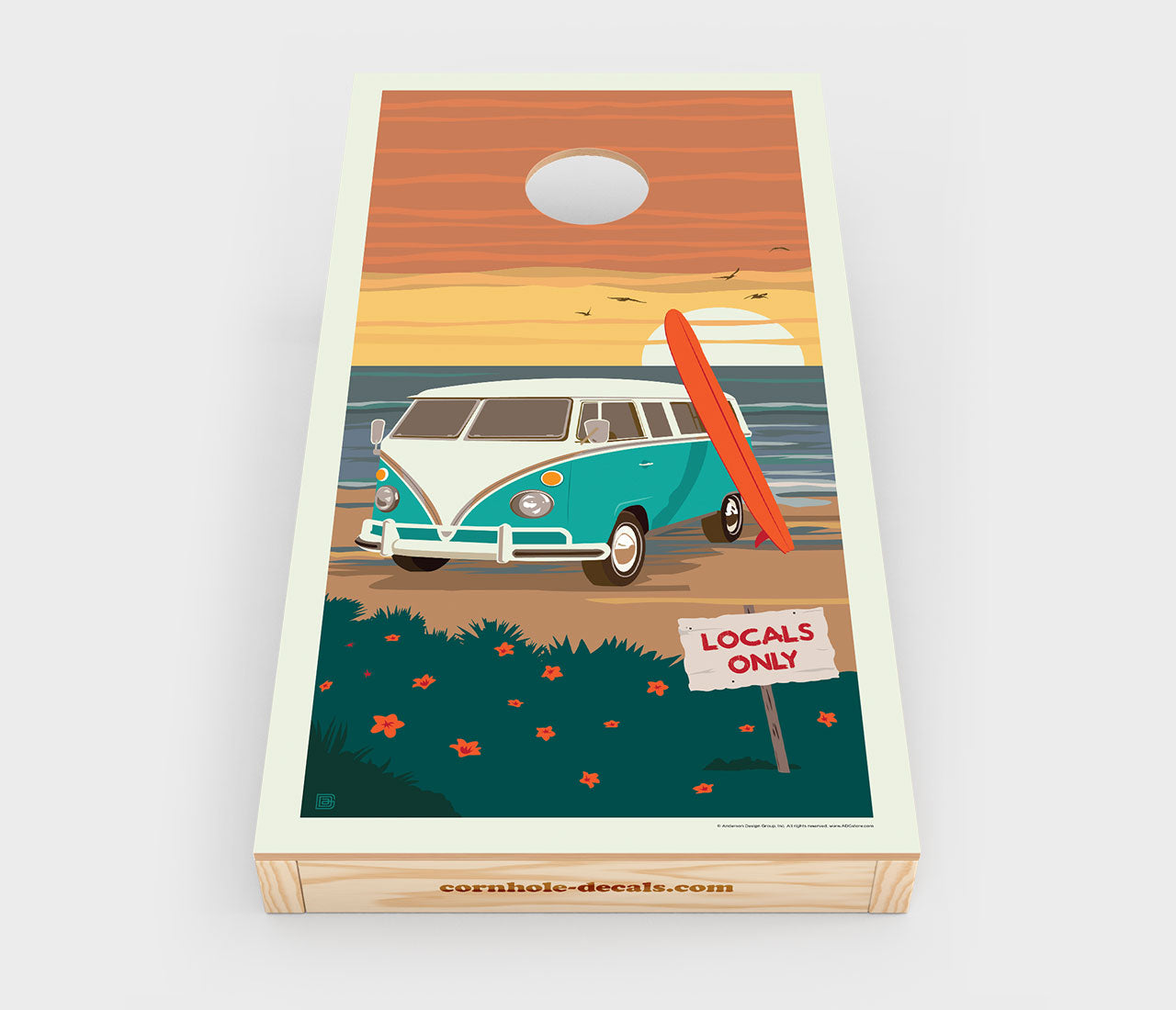 Locals Only: VW Surf Van Cornhole Decal