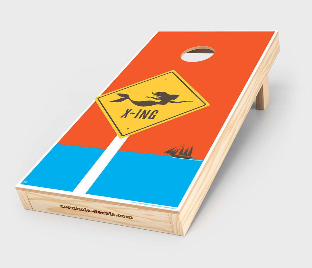 Mermaid Crossing Cornhole Decal