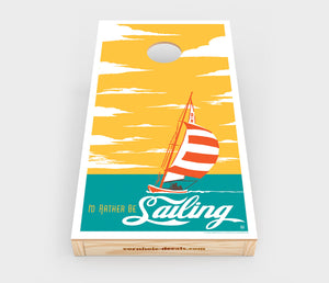 I'd Rather Be Sailing Cornhole Decal