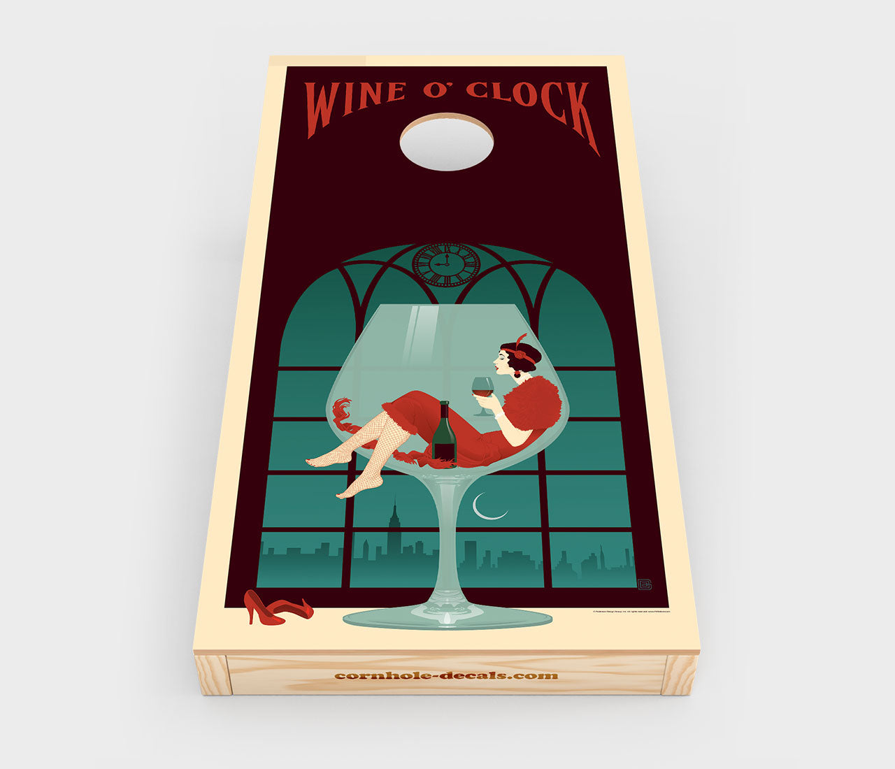 Chuggles Cornhole - Anderson Design Group - Wine O' Clock Cornhole Decals - Straight On View