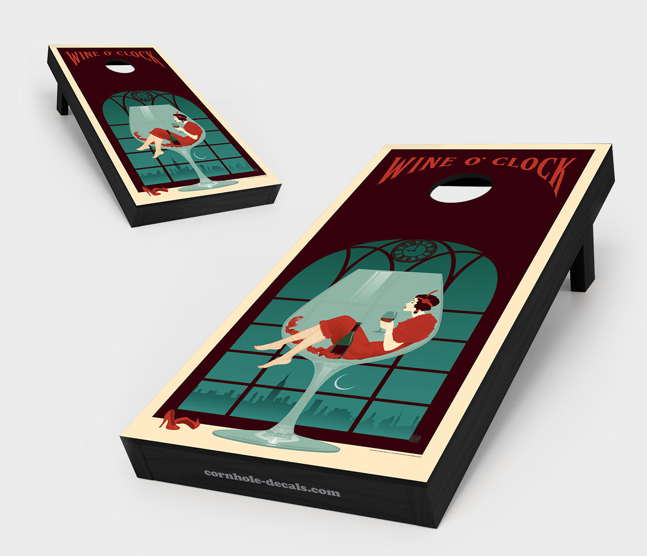 Chuggles Cornhole - Anderson Design Group - Wine O' Clock Cornhole Board Set