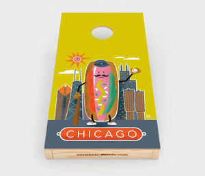 Chuggles Cornhole - Anderson Design Group - Chicago Hotdog - Straight On View