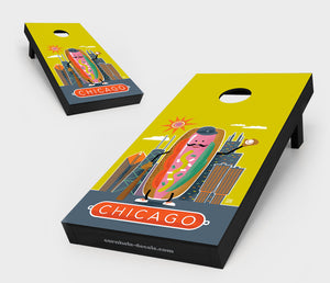 Chuggles Cornhole - Anderson Design Group - Chicago Hotdog Cornhole Board Set