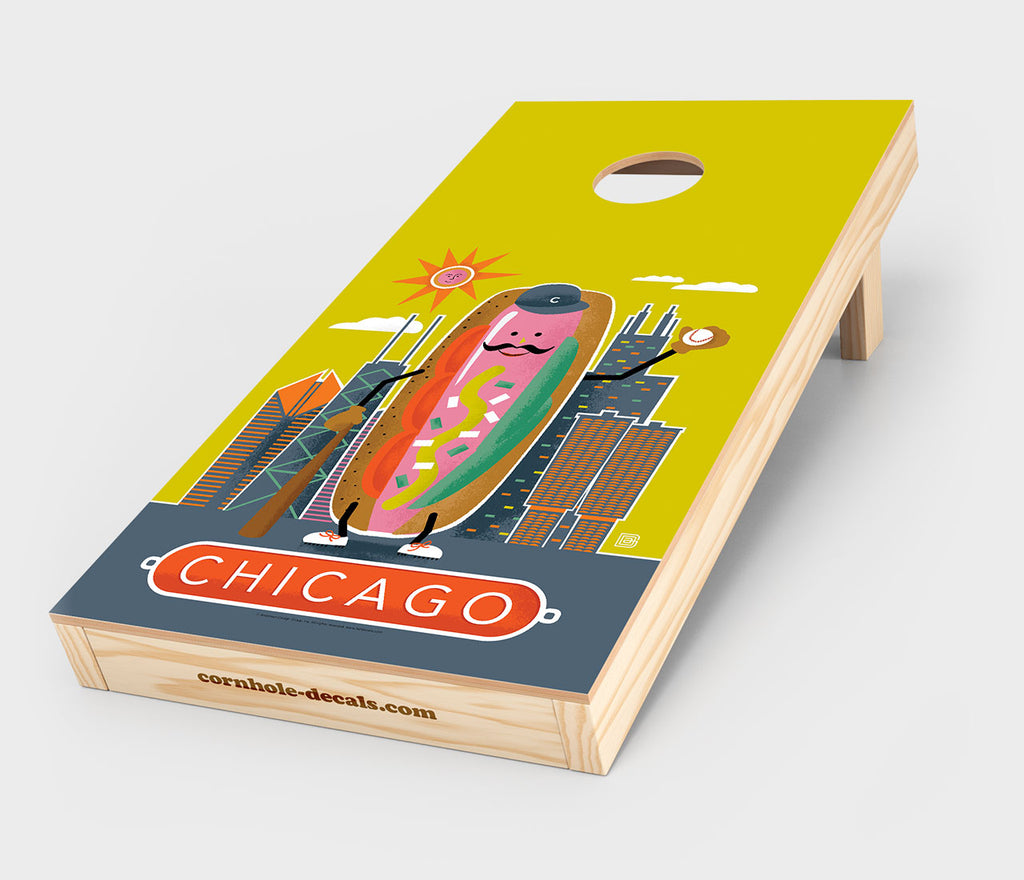 Chicago Hot Dog Cornhole Decal