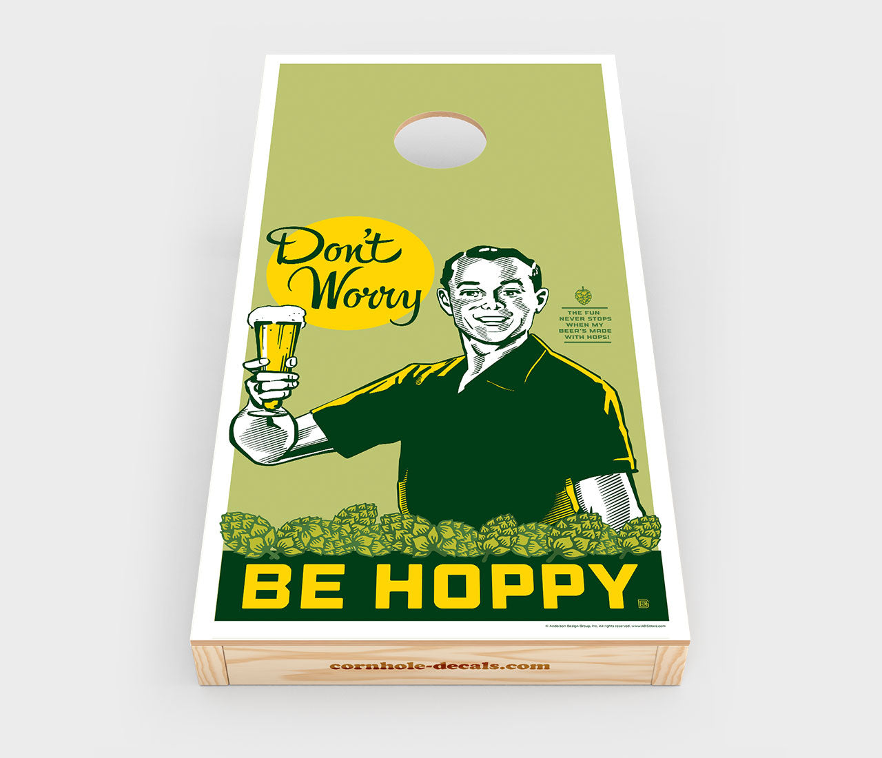 Chuggles Cornhole - Anderson Design Group - Don't Worry. Be Hoppy - Straight On View