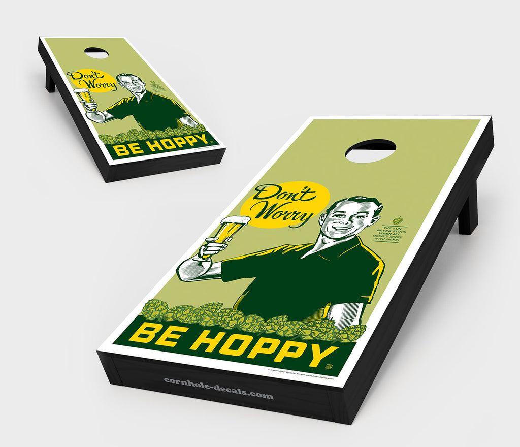 Chuggles Cornhole - Anderson Design Group - Don't Worry. Be Hoppy Cornhole Board Set