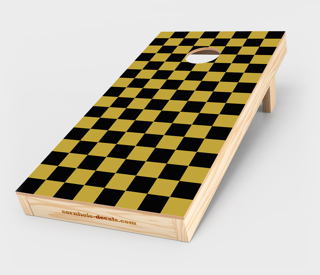 Chuggles Cornhole - Black and Gold Checkered Cornhole Decal