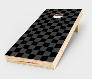 Chuggles Cornhole - Black and Grey Checkered Cornhole Decal