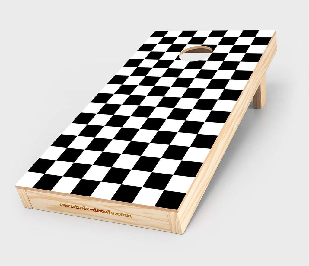 Black and White Checkered Cornhole Decal