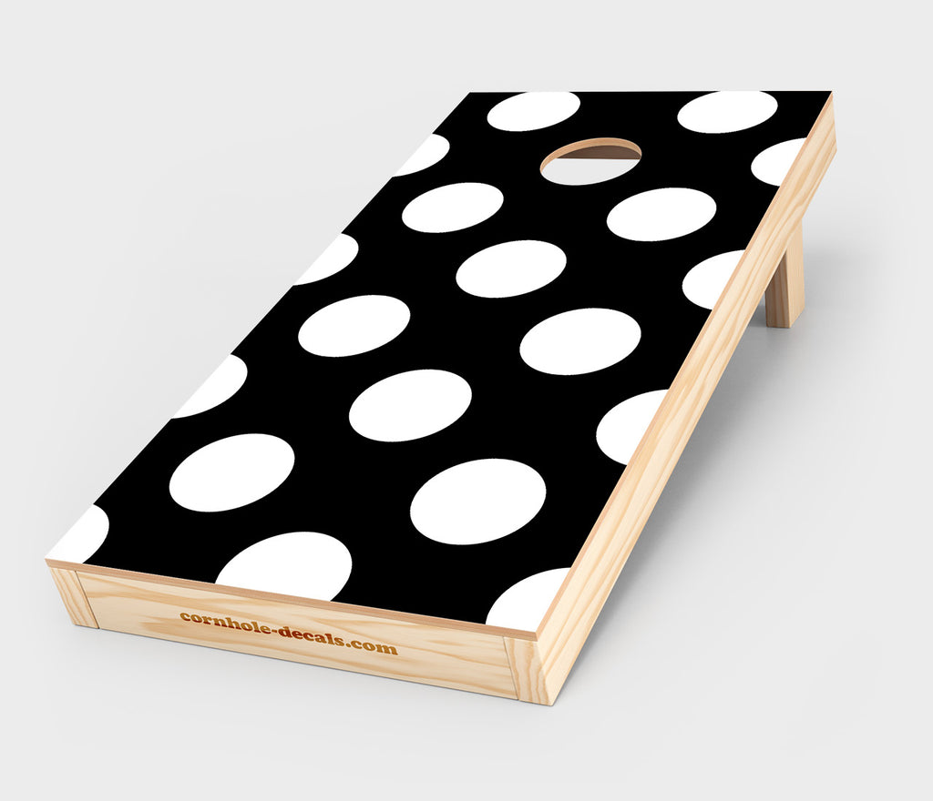 Black & White Polka Dot Cornhole Decal