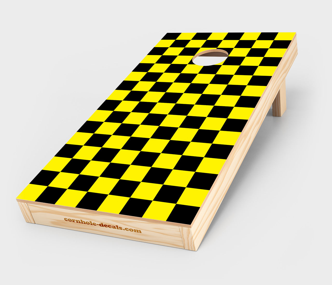 Chuggles Cornhole - Black and Yellow Checkered Cornhole Decal