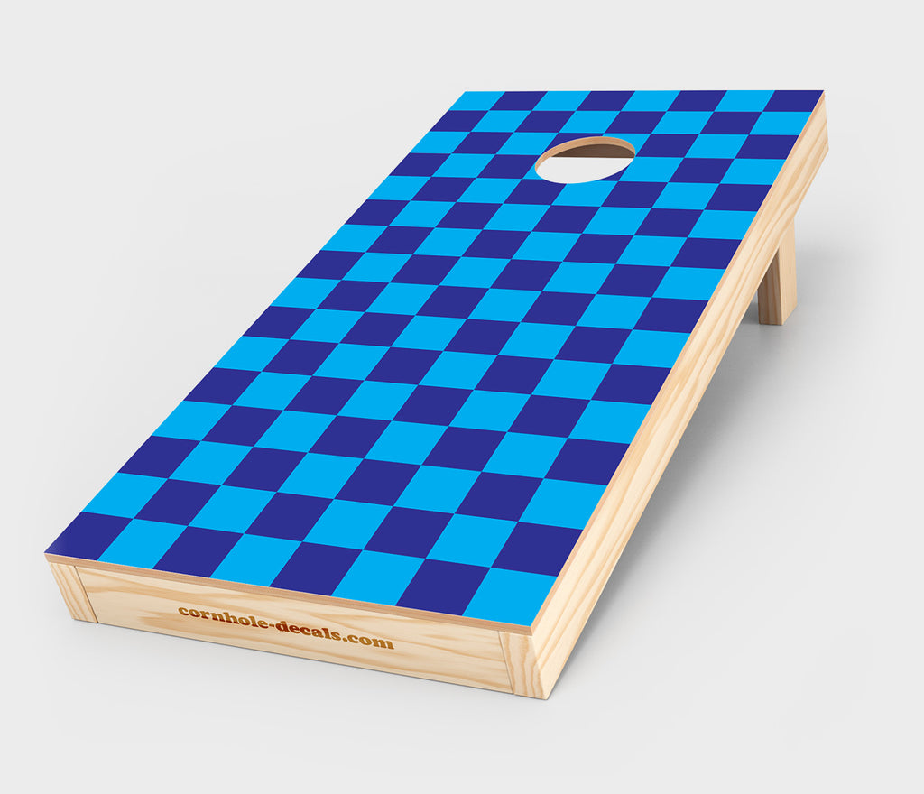 Blue and Cyan Checkered Cornhole Decal