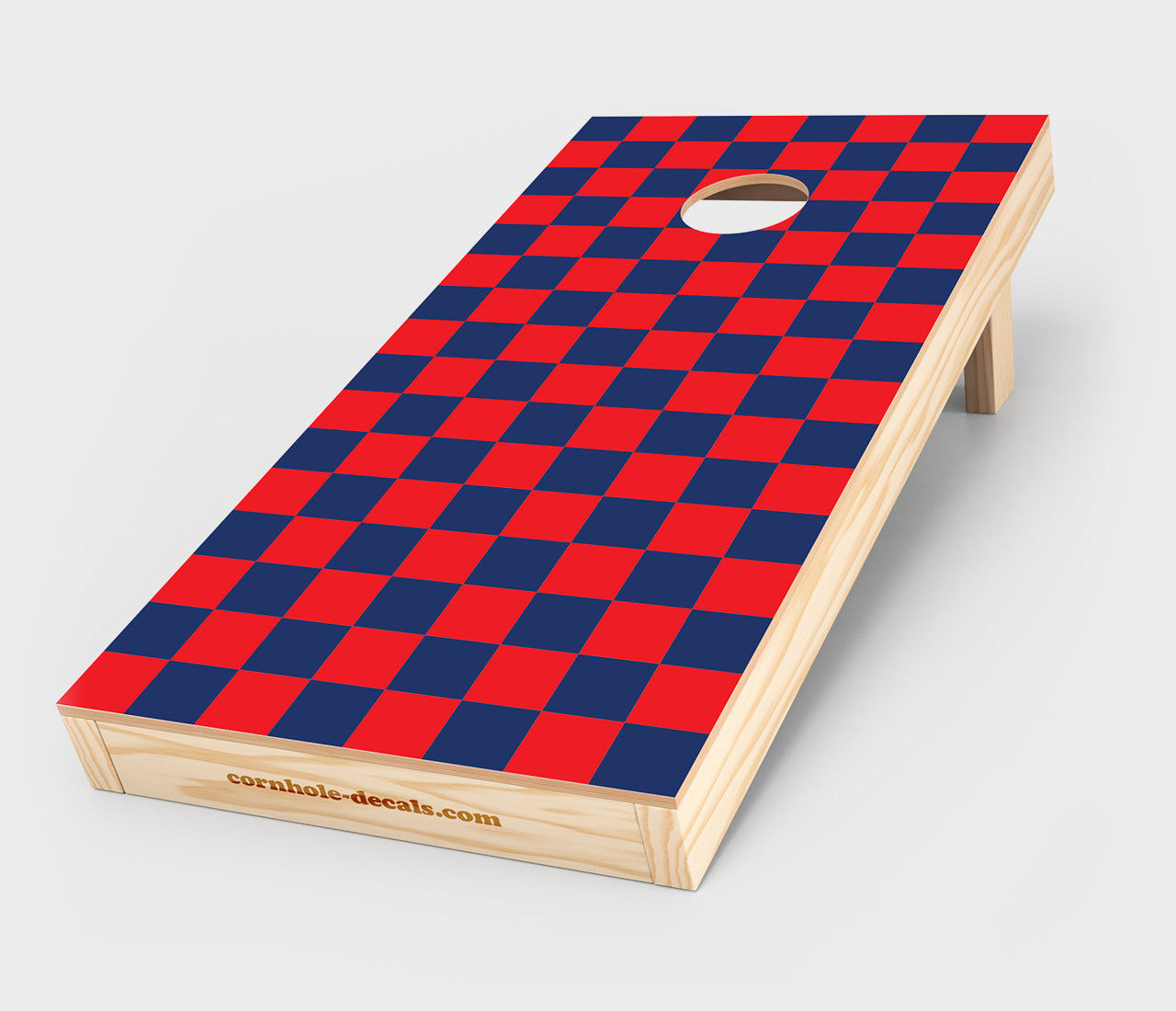Chuggles Cornhole - Blue and Red Checkered Cornhole Decal