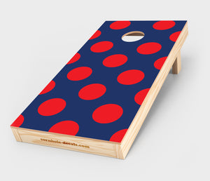 Chuggles Cornhole - Blue and Red Polka Dots Cornhole Decal