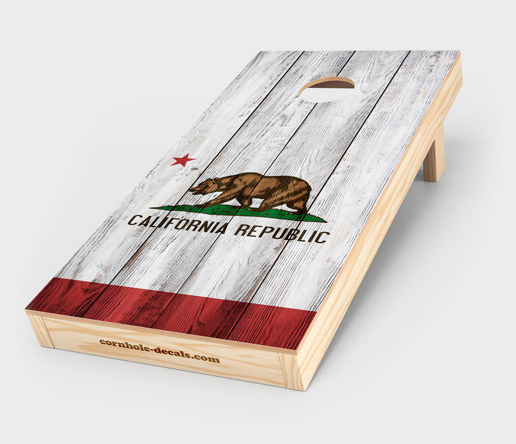California State Flag Distressed Cornhole Design