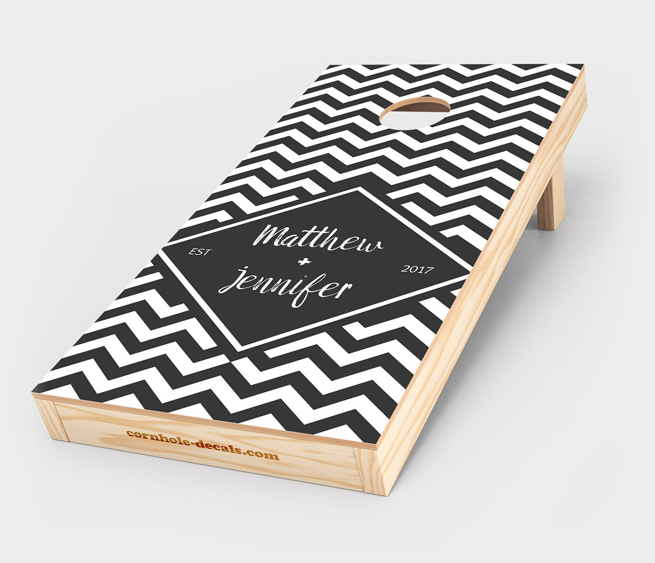 Chuggles Cornhole - Black and White Wedding Cornhole Decal