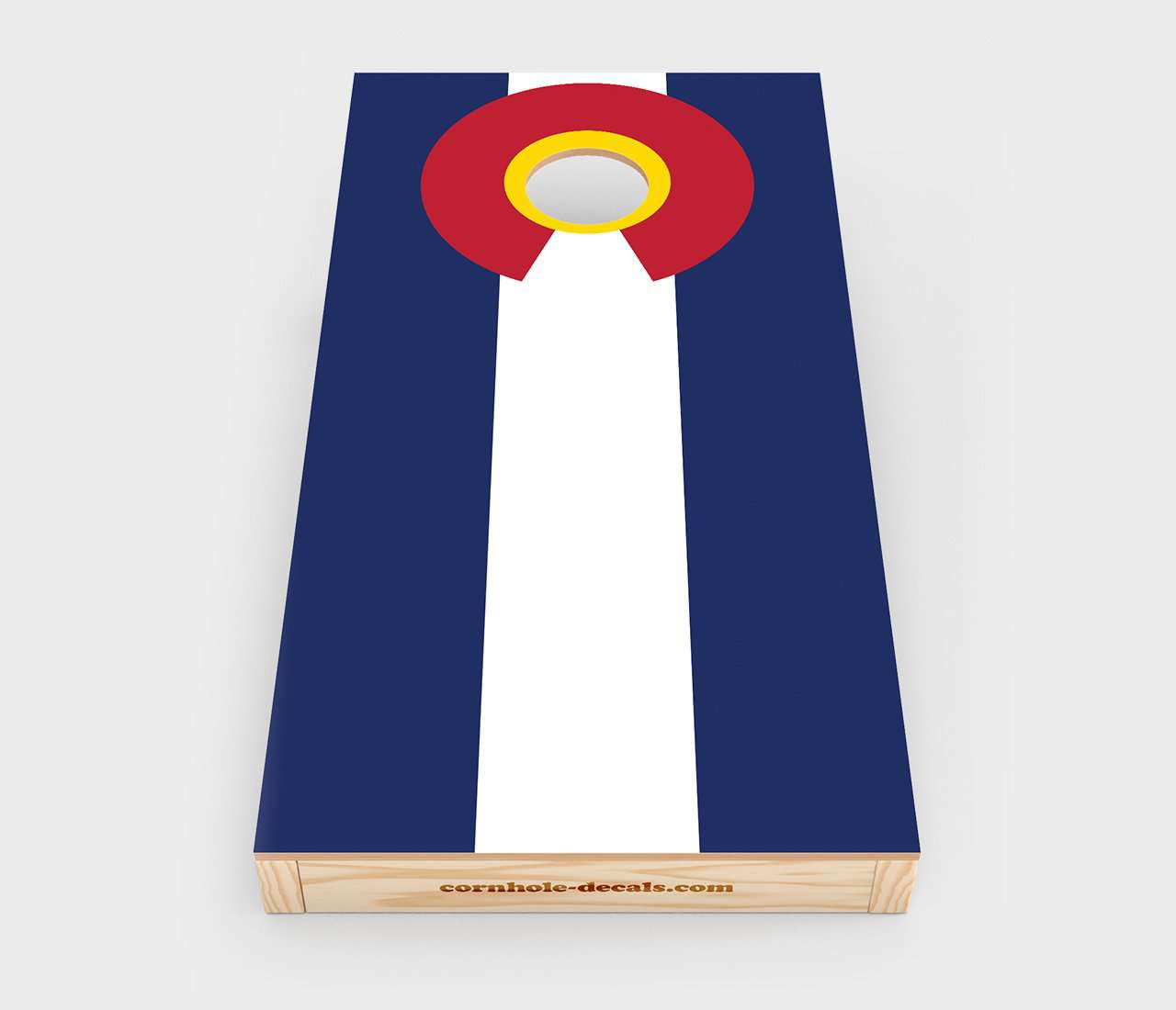 Chuggles Cornhole - Colorado State Flag Cornhole Decal - Straight On View