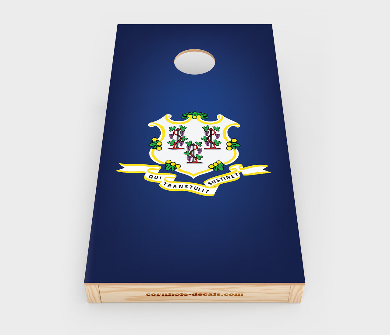 Chuggles Cornhole - Connecticut State Flag Cornhole Decal - Straight On View