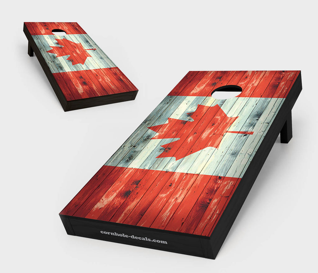 Chuggles Cornhole - Distressed Canadian Flag Cornhole Set