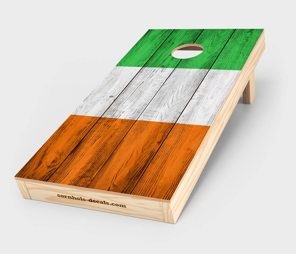 Chuggles Cornhole - Distressed Irish Flag Cornhole Decal