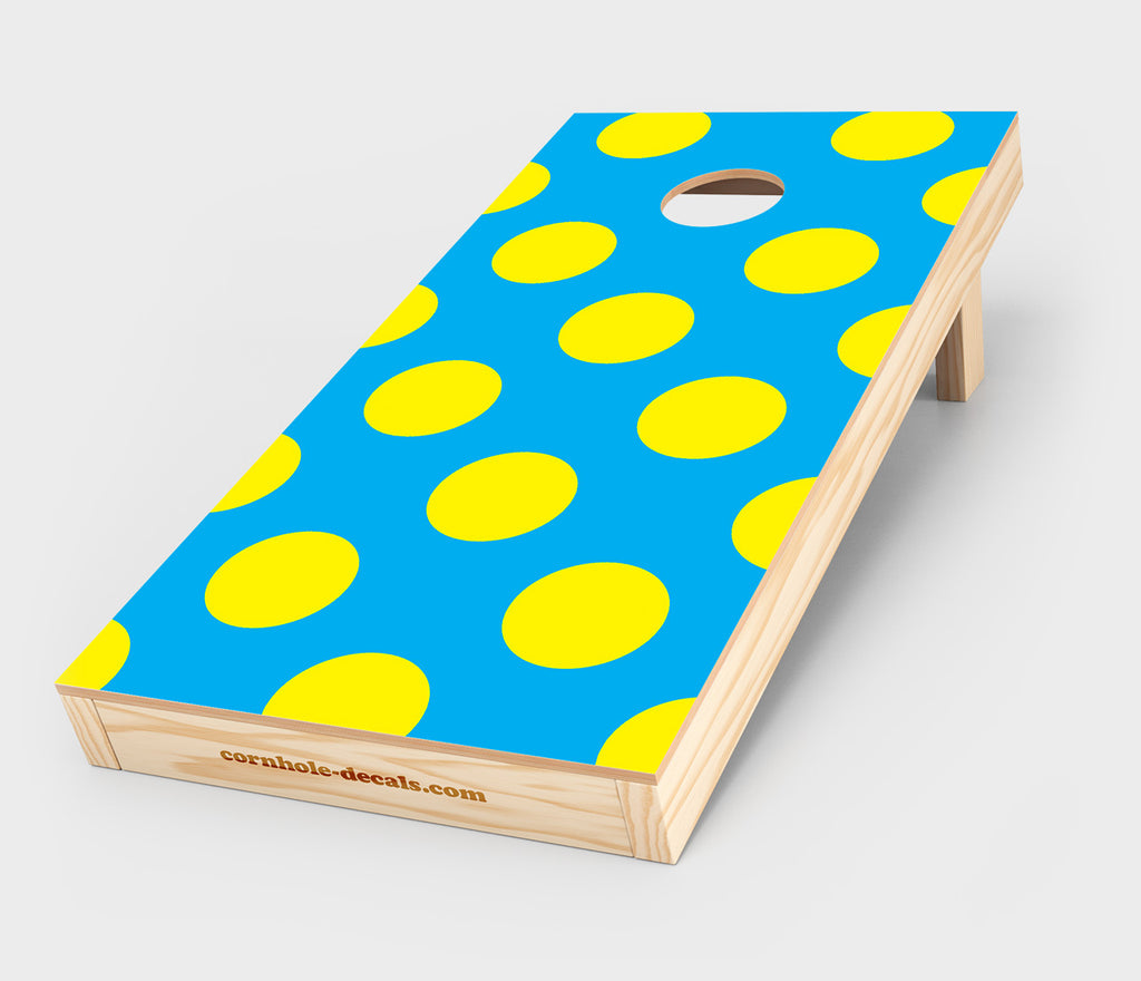 Cyan & Yellow Polka Dot Cornhole Decal