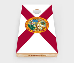 Chuggles Cornhole - Florida State Flag Cornhole Decal - Straight On View