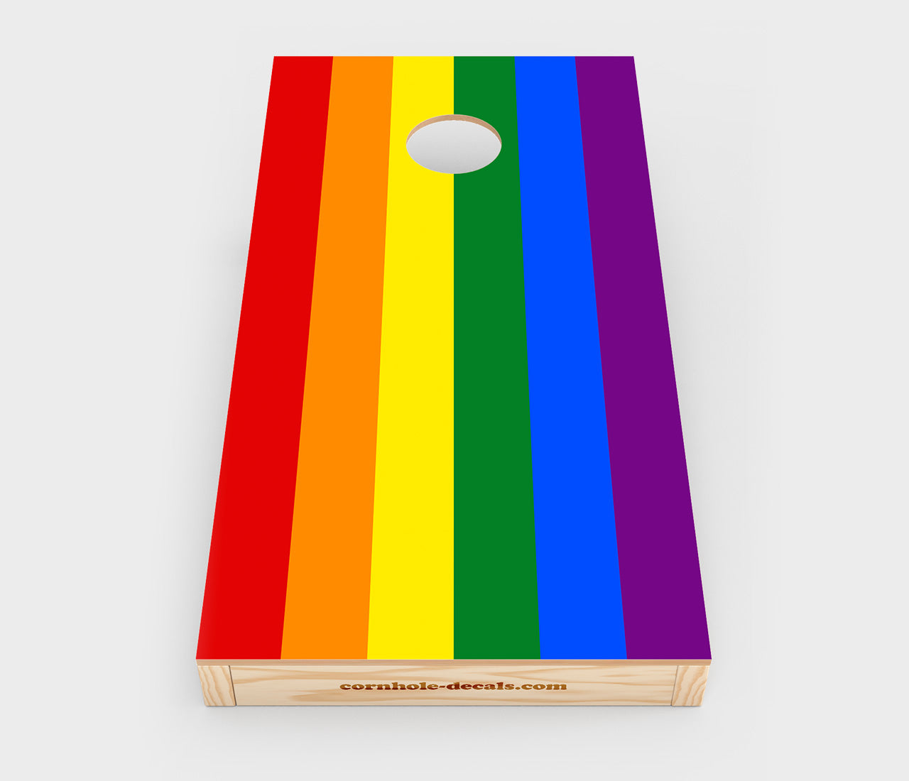 Chuggles Cornhole - Gay Pride Flag Cornhole Decal - Straight On View