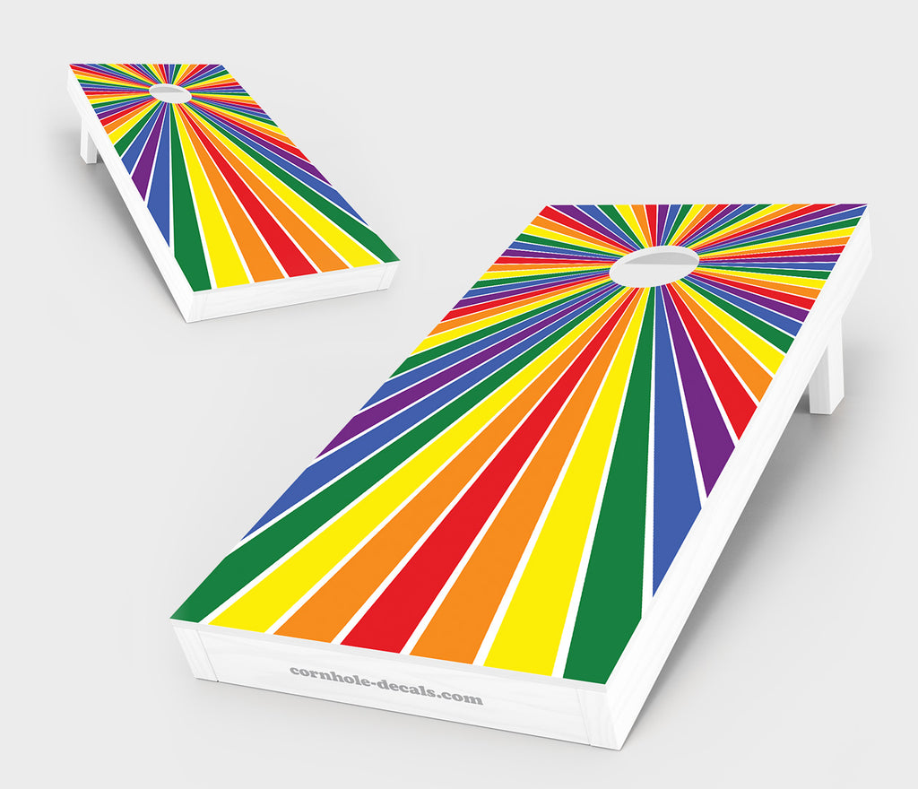 Gay Pride Flag Starburst Cornhole Set
