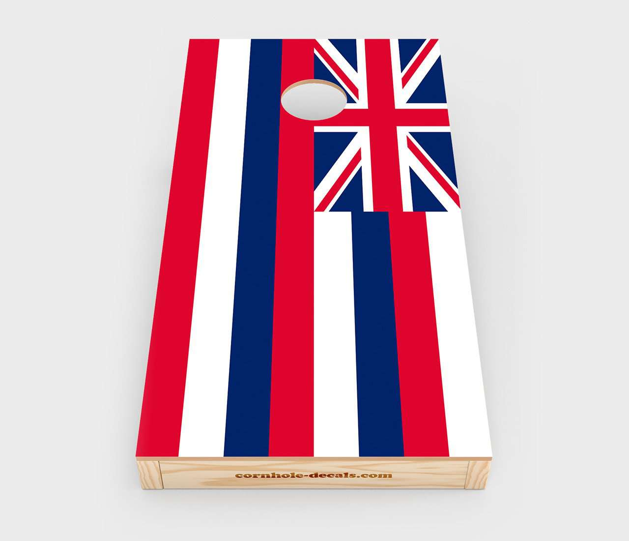 Chuggles Cornhole - Hawaii State Flag Cornhole Decal - Straight On View