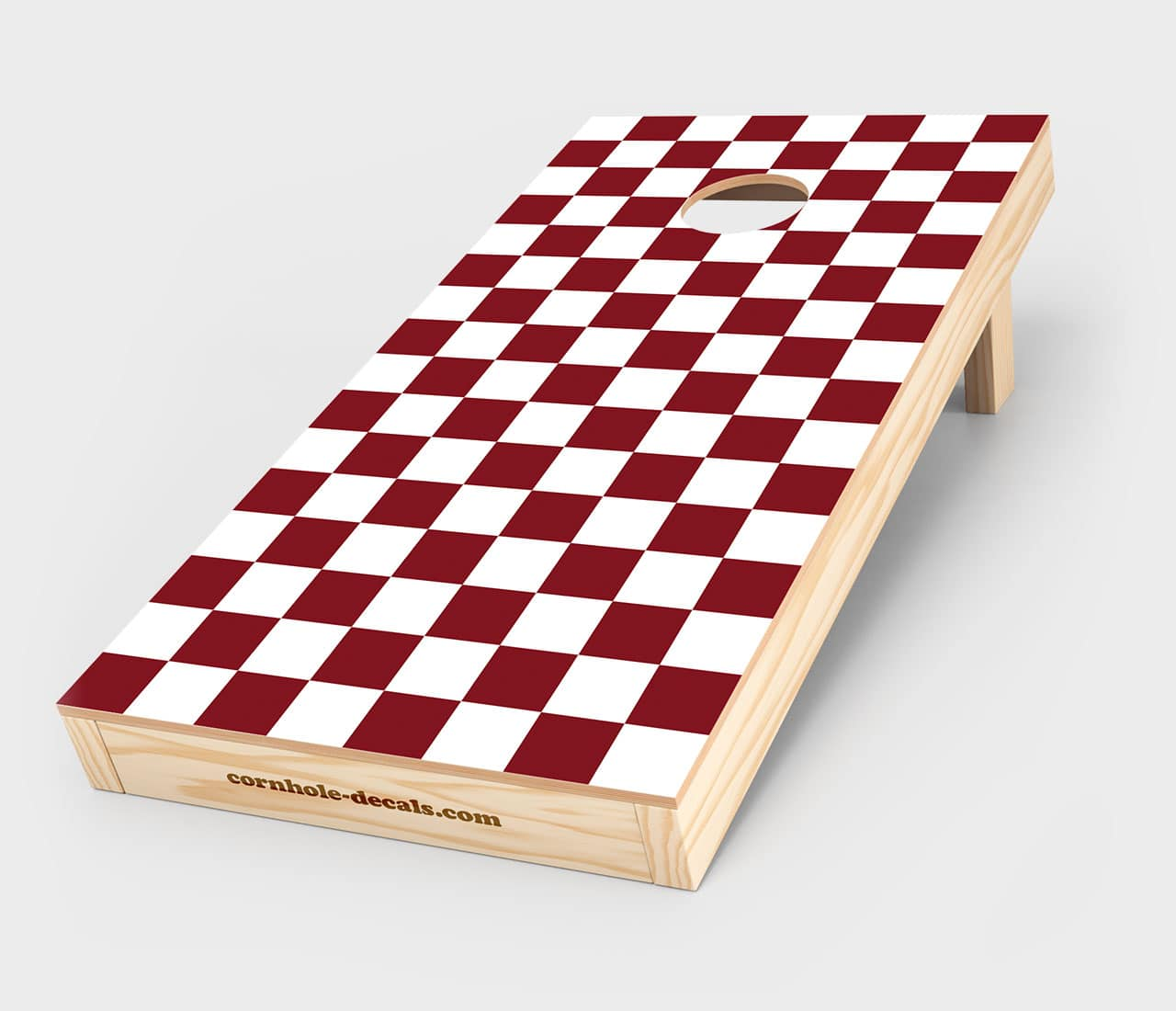 Maroon and White Checkered Cornhole Decal