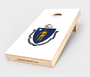 Chuggles Cornhole - Massachusetts State Flag Cornhole Decal
