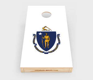 Chuggles Cornhole - Massachusetts State Flag Cornhole Decal - Straight On View