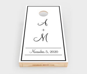 Chuggles Cornhole - Monogrammed Wedding Cornhole Decals - Straight On View