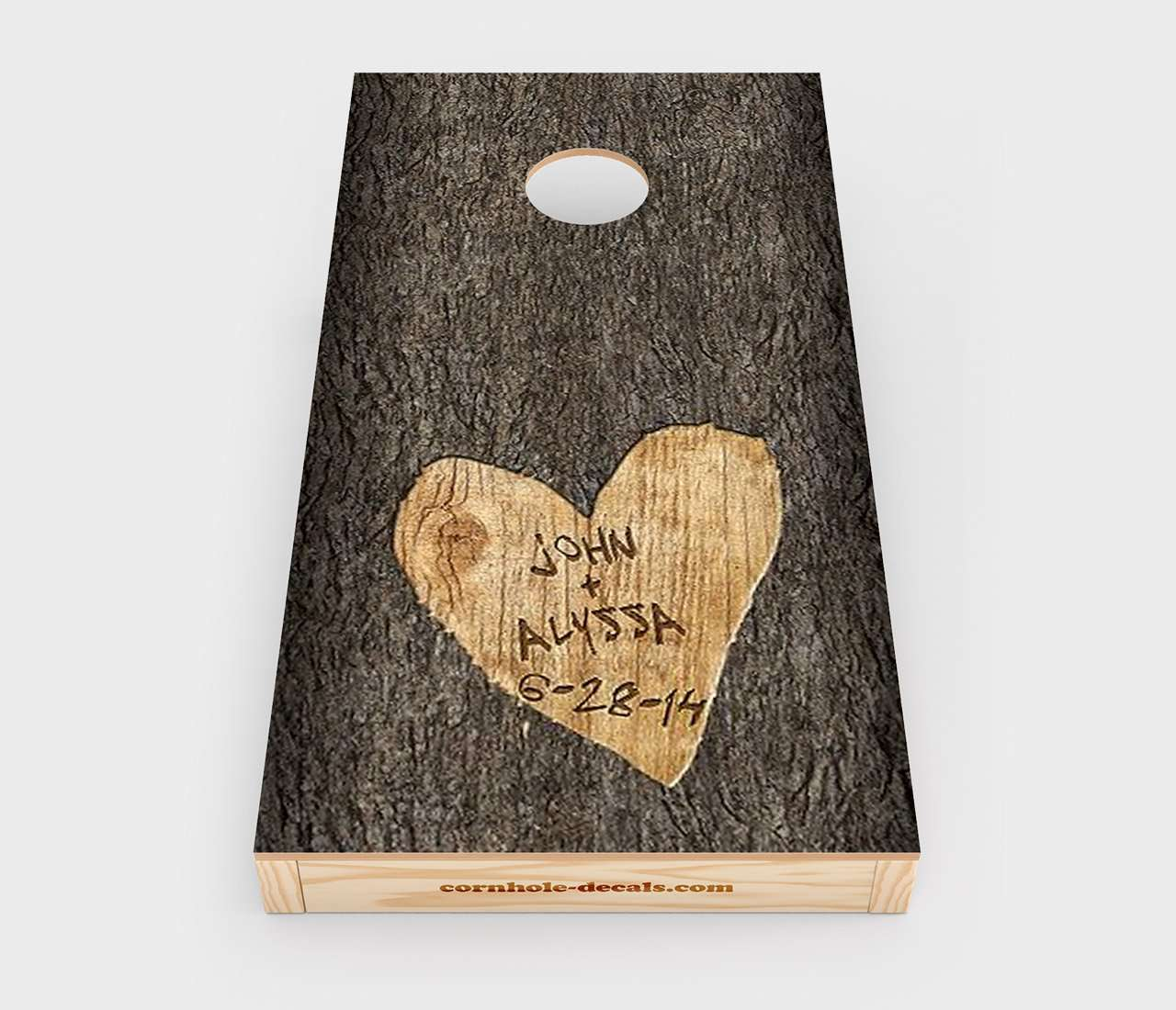 Names Carved in Tree Wedding Cornhole Decal